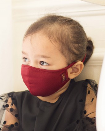UNISEX KIDS MASK (HEAD LOOP) + PACK OF 5 PM2.5 FILTERS - MAROON