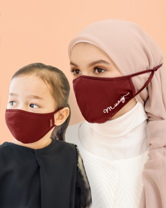 COMBO | EMBELLISHED MASK (HEAD LOOP) + KIDS MASK (HEAD LOOP) - MAROON