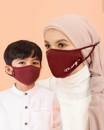 COMBO | EMBELLISHED MASK (HEAD LOOP) + KIDS MASK (EAR LOOP) - MAROON