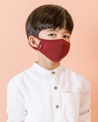 UNISEX KIDS MASK (EAR LOOP) + PACK OF 5 PM2.5 FILTERS - MAROON