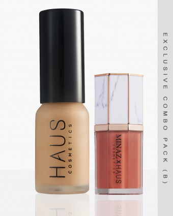 MINAZ X HAUS (B) - MEDIUM FOUNDATION + NADEERA LIPCREAM