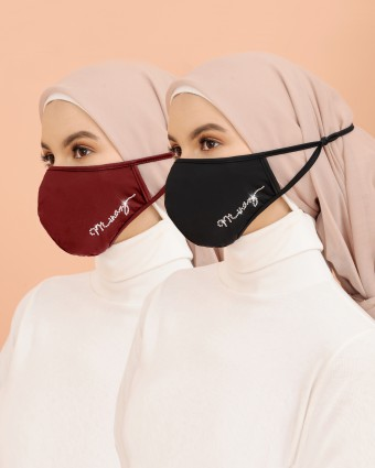 COMBO | 2 EMBELLISHED MASK (HEAD LOOP) - BLACK & MAROON
